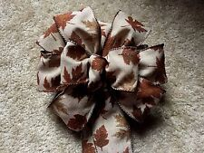 """9"""" WIDE  SPARKLE LEAVES BROWN BURLAP FALL RIBBON BOW FOR 12"""" WREATH, CRAFTS"""