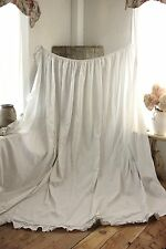 Gray grey white Antique French curtain c 1820 GORGEOUS large bed drape