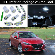 8PCS White LED Interior Lights Package kit Fit 2014 & Up Mazda 3 Mazda3 J1
