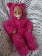 "CUTE SOFT FLEECE ONESIE FOR 18"" BABY ANNABELL DOLL - 17-18"" DOLLS CLOTHES - PINK"