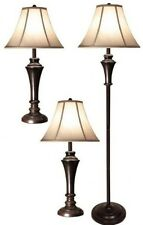 Set of 3pc 2 Aged Bronze Steel Table Lamps & 1 Aged Bronze Steel Club Floor Lamp