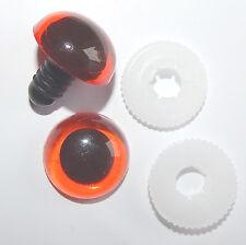 3 Paar Sicherheitsaugen amber mit Pupille 16 mm aus Kunststoff TOP - Qualität