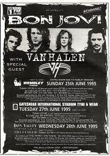 """17/12/94PGN45 CONCERT TOUR DATES ADVERT 7X5"""" BON JOVI WITH VAN HALEN"""