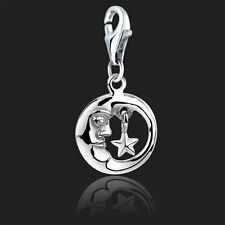 925 Sterling Silver Clip On Bracelet Charm Moon & Star Charms for Bracelets 3D