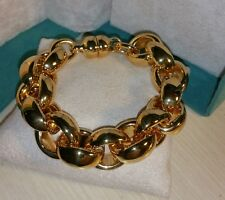 Ross Simons 14k Yellow Gold wide puffy Bangle chain resin magnetic rolo link$525