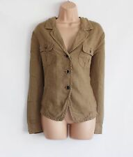 Brown Linen PUBLIC Hips Length Button Women's Blazer Jacket Size XL