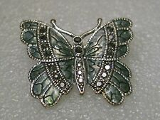 """Vintage Silver Tone Butterfly Brooch with Marcasite-like accents - enameled 1.5"""""""