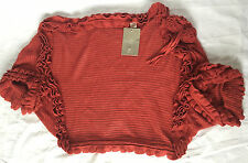 NWT Anthropologie Rust Red Ruffle Shrug Sweater One Size Fits All Retails $78