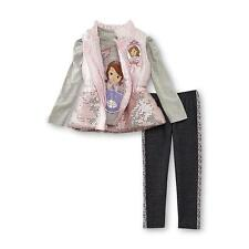 NWT Disney Sofia the First Girls Sequin Puffer Vest Top Leggings Outfit/Set 5T