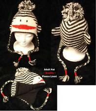 NWT deLux Black & White SOCK MONKEY HAT knit LINED stripe ADULT costume punk emo