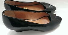 Office patent leather peep toe shoes  wedge heel size 36 uk size 3.5 FREE P&P!