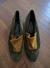 LISA TUCCI Green Slip on Loafers Suede Size 39.5 /  8.5 US