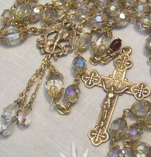 Rosary ~ St. Michael the Archangel ~Crystal ~ Antique Bronze Design ~ Hand made