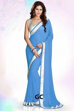 Steal Blue Bollywood Chiffon Plain Silver Border Party Wear Saree Sari JUPE TOP