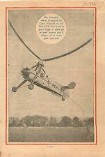 Autogire gyrocoptère autogiro  gyrocopter Juan de La Cierva  1933 ILLUSTRATION