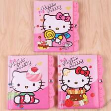 Cute Hello Kitty Combination Lock Coded Locking Hard Cover Diary Journal Notepad