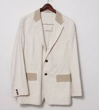 ANN DEMEULEMEESTER Cream Cotton Striped Jacket Blazer Sz Medium