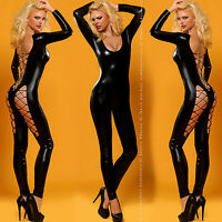 Catsuit Wetlook Overall Anzug Dessous Body Clubwear Party Gr. S/ M 36/38 schwarz
