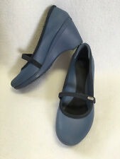 Crocs Womens 9 Casey Blue Wedge Heels Shoes Slip On Sandals
