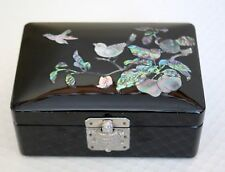Vintage Black Lacquer Asian Jewelry Box Mother of Pearl Bird Inlay Turtle Clasp
