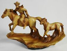 COWBOY & COLT FAUX WOOD CARVING Figure Statue NEW Western Art Pony Cattle Horse