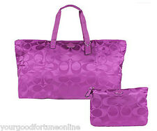 NWT Coach XL Overnight Violet Nylon Packable Weekend Tote Travel 77316 Duffle