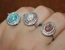 fire opal Cz ring 6.5 7.5 gemstone silver jewelry engagement cocktail Oval band