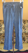 13 32x29 True Vtg 70's Womens SEARS INDIGO HIPPIE BELLBOTTOM GLAM  DENIM JEANS