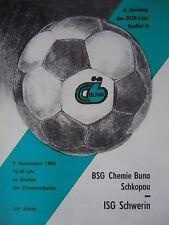 Programma 1984/85 BSG Chemie Buna Schkopau-ISG Schwerin