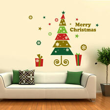 Merry Christmas tree Gift wall stickers Decal Windows Shop stickers  UK SH00