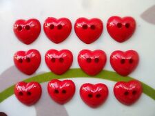 60pcs Novelty Button Small Heart Cardmaking Dolls Holes Red 12mm