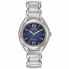 NEW Ladies Citizen Eco-Drive Stainless Steel Blue Floral Dial Watch FE2070-84N