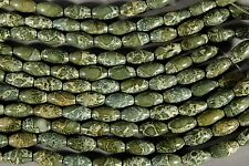 "OUTSTANDING BRECCIATED GREEN JASPER 16x8mm RICE BEADS  8"" STR"