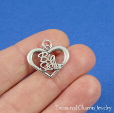 .925 Sterling Silver BIG SISTER CHARM in Open Heart PENDANT *NEW*