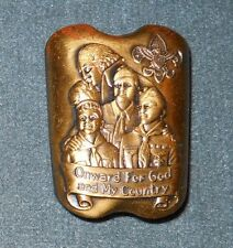1957 National Boy Scout Jamboree Gold Neckerchief Slide Onward Boy Scouts