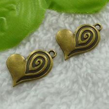 Free Ship 80 pcs bronze plated heart charms 24x19mm #1297