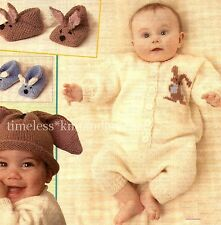 VINTAGE BABY KNITTING PATTERN FOR RABBIT SLIPPERS, BUNNY EARS HAT & SUIT - EASY