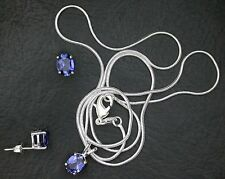 8x6 Oval Synthetic Corrundum Blue Sapphire Sterling Earring Pendant + FREE CHAIN