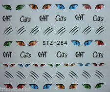 Nail Art Water Decals Stickers Halloween Cats Cat Eyes Whiskers Gel Polish S284
