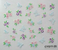 Accessoire ongles: nail art - Stickers autocollants- fleurs et papillons colorés