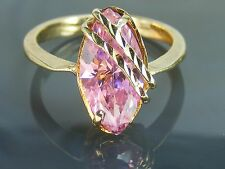 10k Vintage Yellow Gold Filigree Ring PINK Marquise Diamonique CZ Size: 6.5