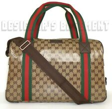 GUCCI beige Crystal JOY GG Canvas Leather trim OVERNIGHTER Duffel bag NWT Auth
