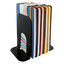 2 Universal Economy Non-Skid Deluxe Solid Metal Black 7 Inch Bookends - One Pair