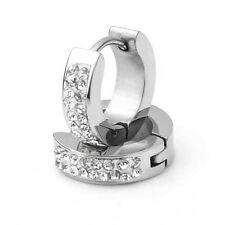"""Pair Men Stainless Steel Rhinestone Huggie Hoop Stud Earrings 0.55x0.16"""""""