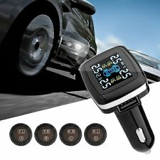 Wireless Tire Pressure Monitoring System+Alarm+USB+4 Sensors+Temperature Gauge