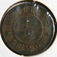 Norway, Swedish rule: 1867 copper 1/2 Skilling, 1-yr type; scarce Au