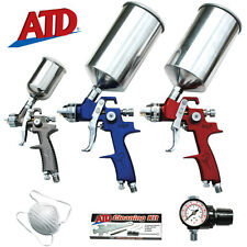 ATD 6900 9 pc 3 HVLP PAINT SPRAY GUN SET Auto Car Detail Touch-Up Primer Topcoat