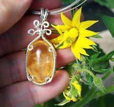 Citrine Happiness Positive Relationships Sterling Silver Wire Wrap Reiki Pendant