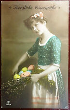 1918 Postcard Best Easter Wishes Girl and Basket w/ Collered Eggs Germany