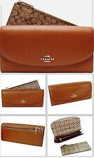 NWT Coach 52628 Crossgrain Leather POP Slim Envelope Wallet Saddle